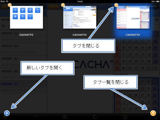 iPadでのタブ一覧画面。現在のタブが強調表示されています