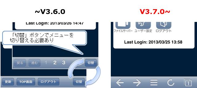 従来のメニューバー(iPhone)は「切替」ボタンでメニューを切り替えるが、新メニューバーでは切り替え不要