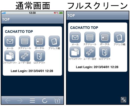 iPhoneのフルスクリーンモード